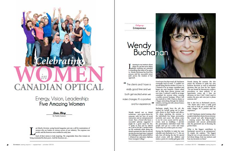 Envision Magazine - Wendy is celebrated as a visionary leader in Canadian optical.